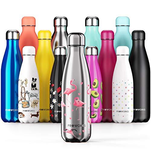 Proworks Botellas de Agua Deportiva de Acero Inoxidable | Cantimplora Termo con Doble Aislamiento para 12 Horas de Bebida Caliente y 24 Horas de Bebida Fría - Libre de BPA - 750ml - Plata - Flamenco