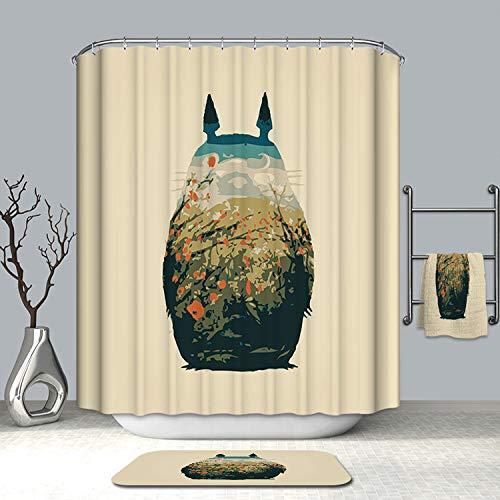 KKASD 3D Duschvorhang Mein Nachbar Totoro Wasserabweisende antibakterielle & schimmelresistente Duschvorhänge für Badewanne & Duschkabine (180 x 180 cm)