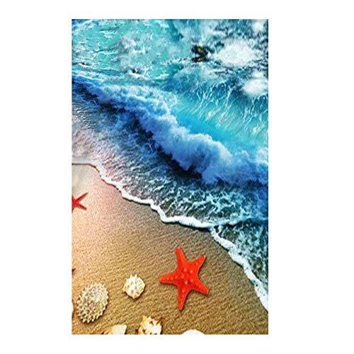 "ZaH Thin Area Rug Non-Slip Doormat Carpet Printing Rug for Living Room, Bedroom, Kitchen, Bathroom (2x3-19.7""x31.5"", Wave)"
