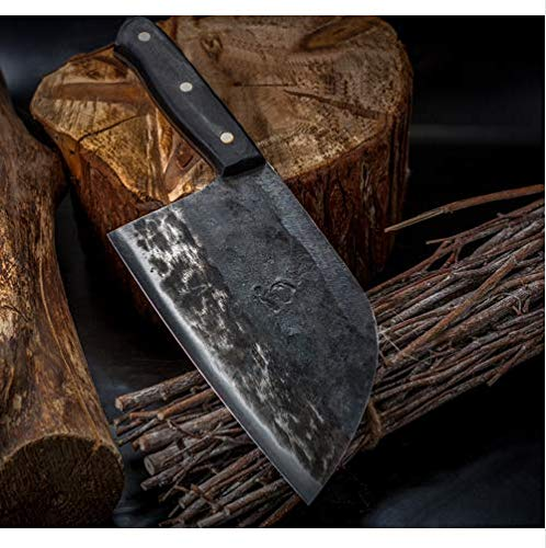 Hunters Serbian Chef Knife - Kitchen Knife Chef Knives Handmade Forged Full Tang High-carbon Clad Steel Professional butcher knife Cleaver Meat Slicing Chopping Tool