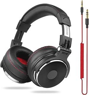 $71 » Taurusb Bluetooth Headphones Over Ear, Wired Professional Studio Pro DJ Headphones with Microphone Over Ear HiFi Monitor Music Headset Earphone for Phone PC