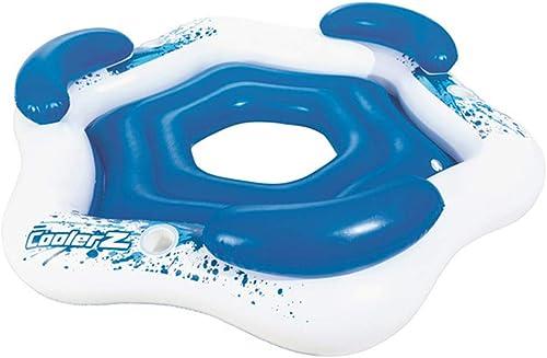 AUNLPB Tropische Brise aufblasbare schwimmende Insel, aufblasbare 3-4 Personen Pool Float, Größe Swim Lounger für Pool oder See, Summer Lounge Toy
