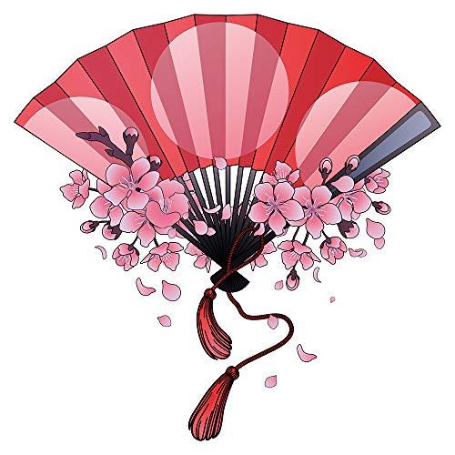 dekodino® Wandtattoo Asien Handfächer mit Kirschblüten Wanddekoration