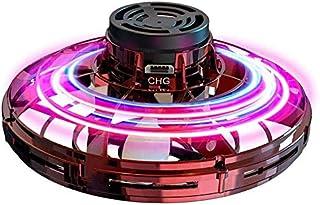 Abree Flying Toys para Adultos y niños con Carga USB Mini UFO Drone Spinner Manual con Luces LED RGB giratorias y Brillantes de 360 ° (Red)