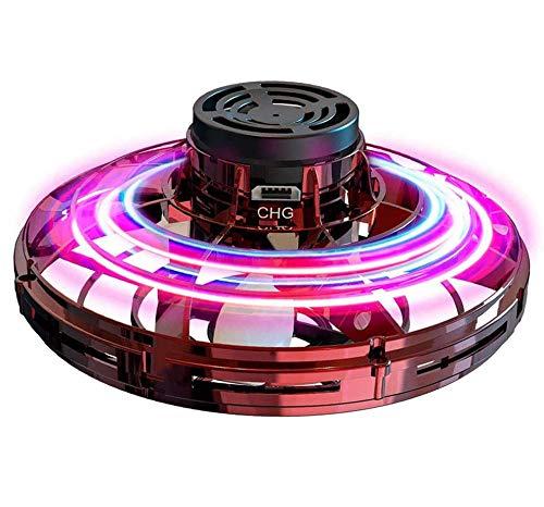 Abree Giocattoli Volanti per Adulti e Bambini Ricarica USB Mini Drone UFO Manuale a Rotazione con luci a LED RGB rotanti e Shinning a 360 ° (Red)