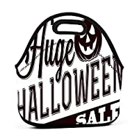Happy Halloween Pumpkin Logo 保温再利用可能おポータブル弁当箱ランチトートバッグ食事袋子供大人ユニセックス