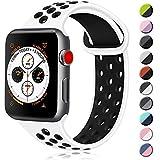 ATUP コンパチブル Apple Watch バンド 42mm 38mm 44mm 40mm、ソフトシリコン交換用リストバンド iWatch Series4/3/2/1に対応、iWatchは含まれていません (38/40 S/M, 02 白/黒)