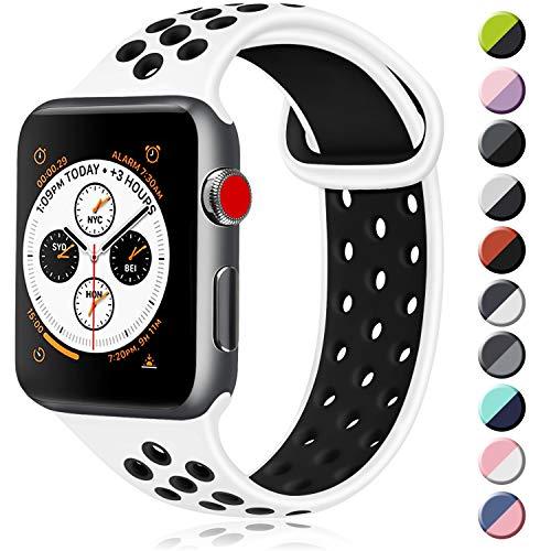 ATUP コンパチブル Apple Watch バンド 42mm 38mm 44mm 40mm、ソフトシリコン交換用リストバンド iWatch Series4/3/2/1に対応、iWatchは含まれていません (42/44 S/M, 02 白/黒)