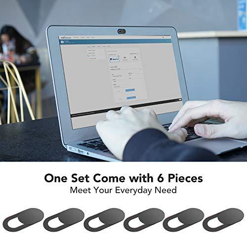 KIWI design Webcam Abdeckung 6er Pack Webcam Cover Laptop Zubehör, Kamera Cover Folie Ultradünn mit Sauberem Tuch für Laptop, PC, iMac, Computer, iPad, Smartphone (Schwarz)