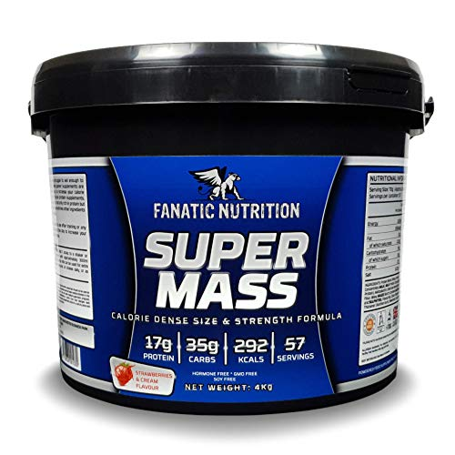 Fanatic Nutrition Super Mass, High Calorie Mass Gainer With Micronised Oat Flour, 47 Servings, 4kg, Strawberries & Cream
