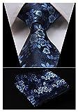 HISDERN Men's Floral Tie Handkerchief Jacquard Woven Classic Men's Necktie & Pocket Square Set,Navy Blue,8.5cm / 3.4 inches in Width