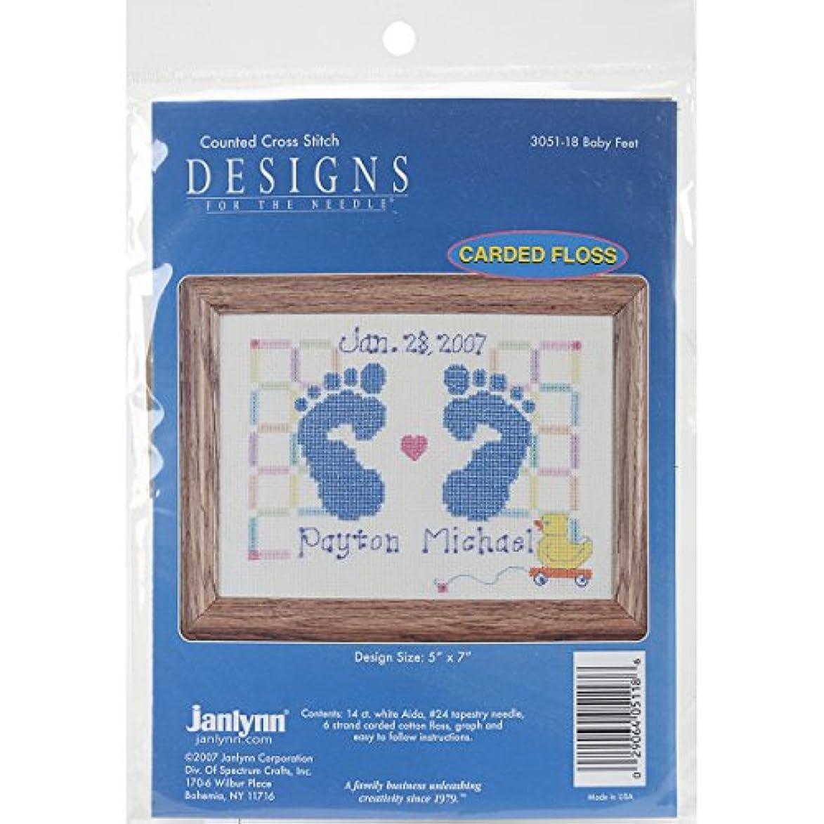 Janlynn Counted Cross Stitch Kit, Baby Feet Birth Announcement rlk069445783378