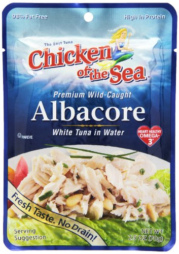 Chicken of the Sea Premium Albacore Tuna in Water, 2.5 Ounce Pouch (Pack of 12)