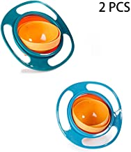 Snack-Bowls Gyro Bowl 360 Degree Rotation Spill Resistant Gyroscopic Bowl with Lid Children Tableware Dishes Universal Lunch Snack-Bowl (Blue+Green)