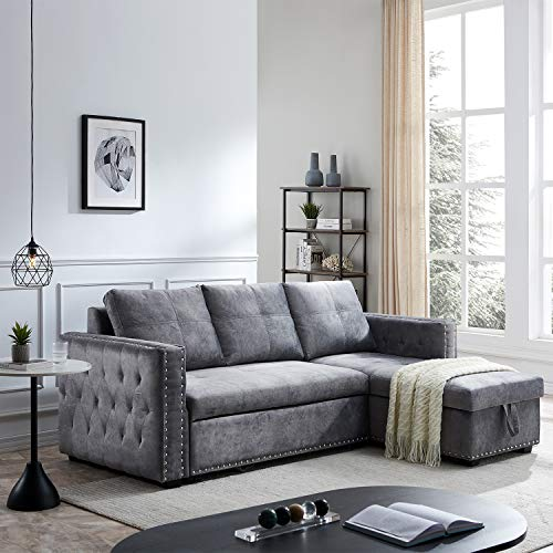 Morden Fort Velvet Reversible Sleeper Sectional Sofa L-Shape 3 Seat Sectional Couch with Storage-Gray