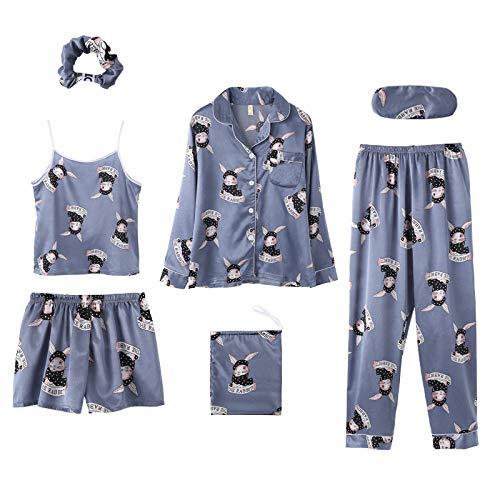Damen Schlafanzug,7 Pcs Drucken Frauen Pyjama Set Ice Seide Frühling Top + Hose + Nachthemd Nachtwäsche Set Blau Fashion Soft Lose And Plus Size Pyjama Set, Bild, M