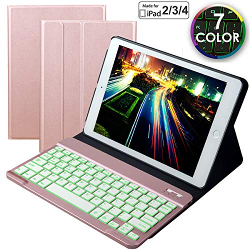 Eoso Keyboard Case for iPad 2/3/4 Built-in Wireless Slim Shell Magnetic PU Protective Cover for Men Women (Rose Gold with Backlit Keyboard)