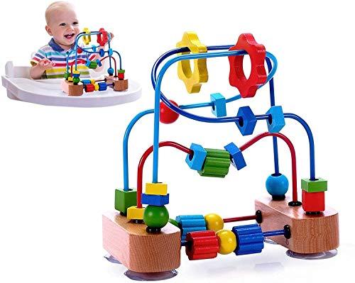 Bck 1 y 2 años de antigüedad Laberinto de beads para el juguete de la actividad del desarrollo clásico para bebés para bebés niño pequeño, con fuertes ventosas y perlas de madera de la montaña de roll