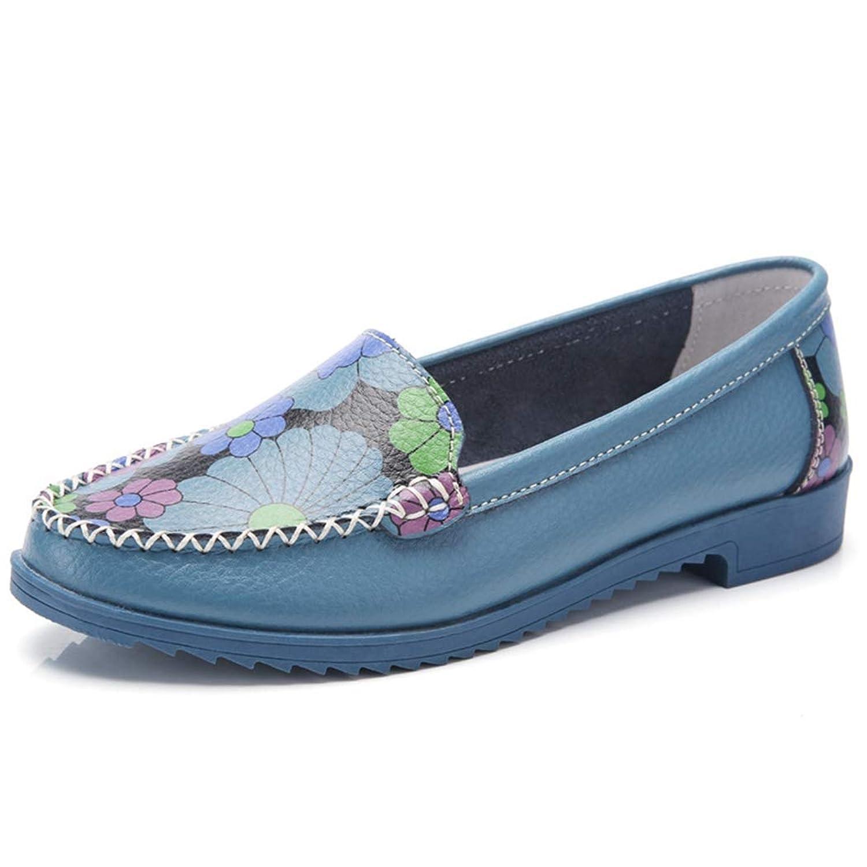 [WOOYOO] 花柄スリッポン かわいい ローファー 革靴モカシン フラットシューズ 歩きやすい 婦人靴 アメカジ ナチュラル デッキシューズ 歩きやすい 防水 ファッション性 屈曲ソール 春夏 ブルー
