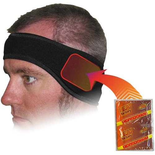 Heat Factory Fleece Ear Headband with Hand Heat Warmer Pockets, Black
