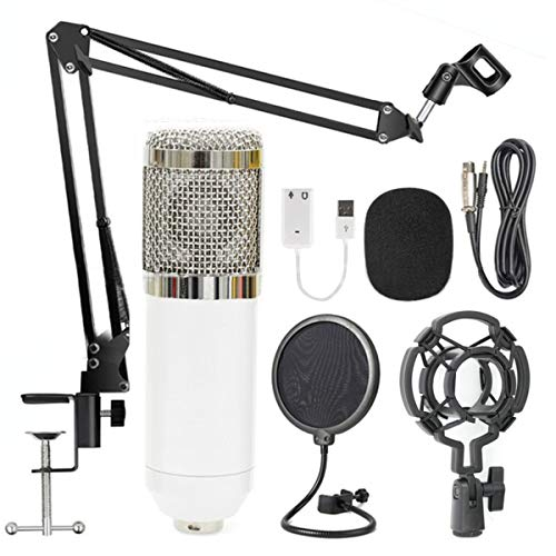 BM-800 Professional Cardioid Studio Condenser Microphone Bundle, with Adjustable Mic Suspension Scissor Arm, Metal Shock Mount and Double-Layer Pop Filter for Studio Recording & Broadcasting (White)
