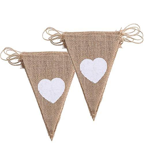 ManYee 2 pcs 3.4m Banderines Yute de color blanco corazón guirnalda Bunting Banner decoración para boda,Fiesta Baby Shower,decorar habitaciones