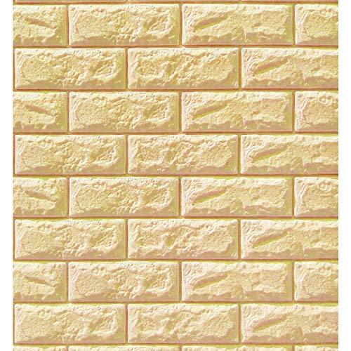 Patrón de papel tapiz de ladrillo 3D PEAL Y PEAL Etiqueta engomada de la pared de la espuma de PE para sala de estar, dormitorio, oficina en casa-de color crema_10pcs