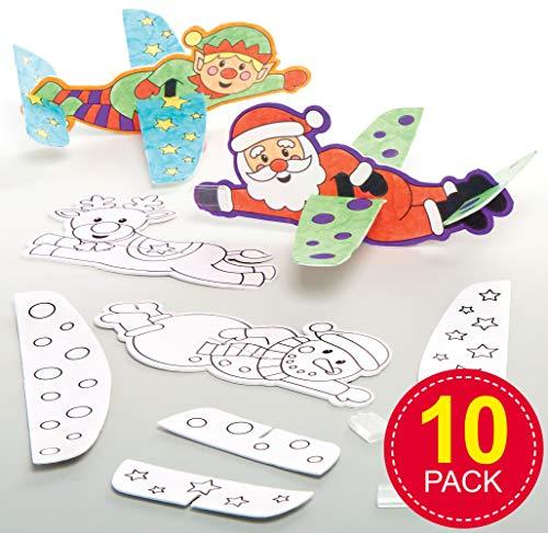 Baker Ross AT244 Kerstmis vliegtuig om in te kleuren (10 stuks) feestelijke piepschuimvlieger speelgoed knutselset voor kinderen, gesorteerd