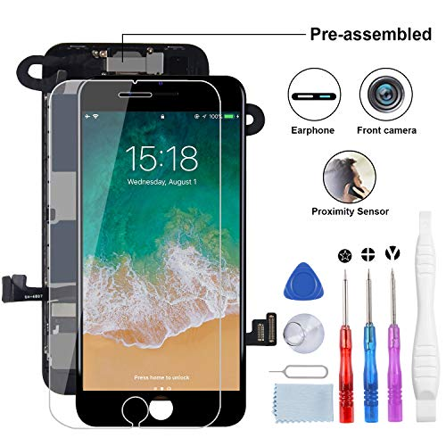YPLANG for iPhone 8 Screen Replacement, LCD Display 3D Touch Screen Digitizer Full Assembly with Proximity Sensor, Ear Speaker and Front Camera (Black)