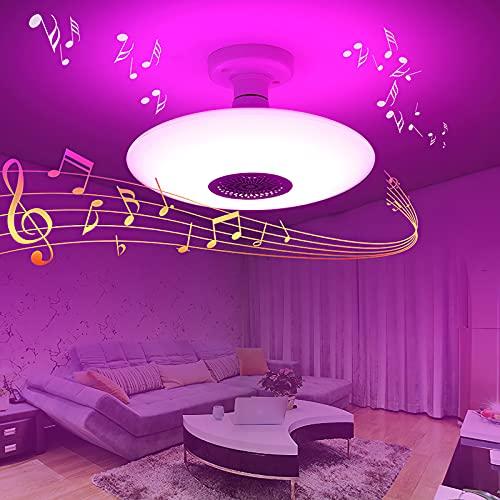 Lámparas De Techo, E27 Plafón LED Techo Con Altavoz Bluetooth,12 Tipos De Luces De Colores Y Luz Blanca, Iluminación RGB Para Baño, Cocina, Pasillo