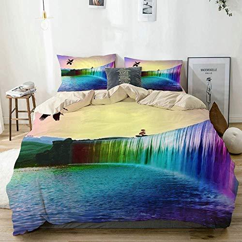 Set copripiumino beige, uccello acquatico arcobaleno naturale, set di biancheria da letto decorativo 3 pezzi con 2 fodere per cuscino facile da pulire anti-allergico morbido liscio