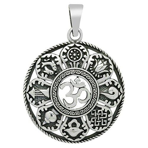 Om Anhänger Buddha mit 8 Symbolen 925 Sterling Silber Ketten-Anhänger für Damen (30mm)