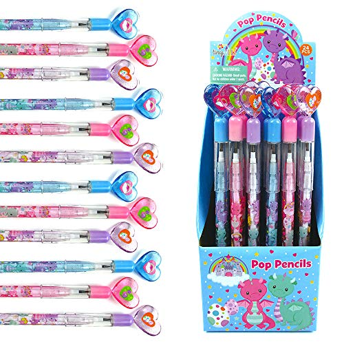 TINYMILLS 24 Pcs Dragon Multi Point Stackable Push Pencil Assortment with Eraser for Dragon Birthday Party Favor Prize Carnival Goodie Bag Stuffers Classroom Rewards Pinata Fillers