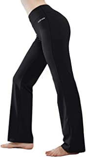 Inner Pocket Yoga Pants 4 Way Stretch Tummy Control Workout Running Pants, Long Bootleg Flare Pants