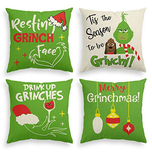 AVOIN Christmas Grinch Throw Pillow Cover, 20 x 20 Inch Winter Holiday Merry Grinchmas Cushion Case Decoration for Sofa Couch Set of 4