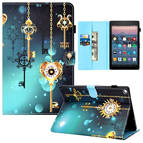 Kindle Fire HD 10 Case,RASUNE Multiple Angle Stand Card Slot Folio Cover with Auto Sleep/Wake Feature Smart Flip Case for Kindle Fire HD 10.1' Tablet 2015/2017/2019 Release -Clock