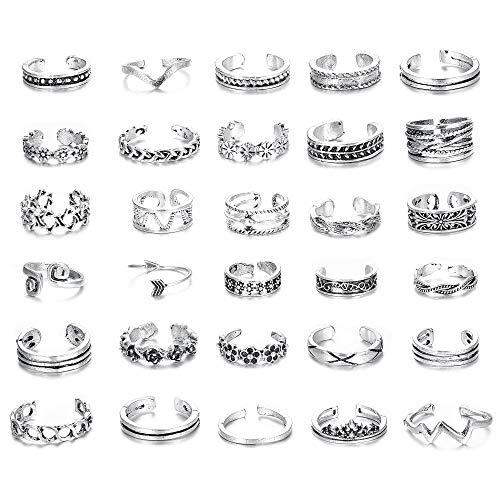 Finrezio 30PCS Open Toe Rings Set for Women Girls Knuckle Ring Vintage Retro Finger Ring