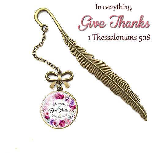 Metall-Lesezeichen mit Bibelvers und Feder, tolles Geschenk für Freunde und Familie 13 Thessaioniker 1 5:18