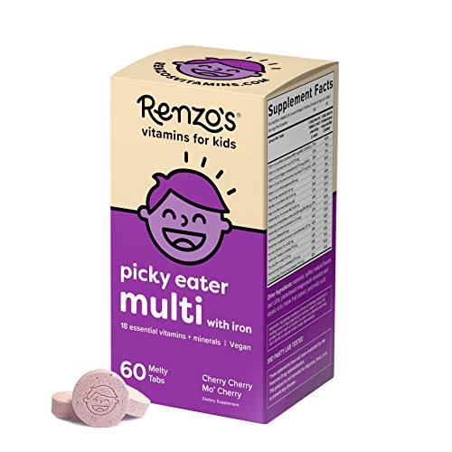Renzo's Picky Eater Kids Multivitamin - Vegan Multivitamin for Kids with Iron, Vitamin C, and Zero Sugar, Dissolvable and Easy To Take Kids Vitamins, Cherry Flavored Childrens Vitamins [60 Melty Tabs]