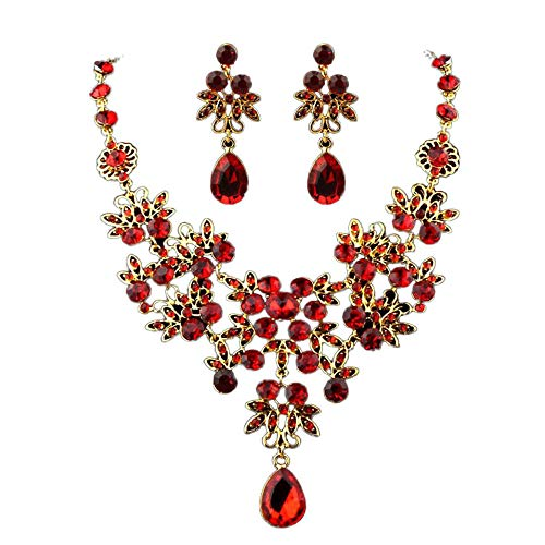 Gbell Hot Bridal Wedding Fine Jewelry Charm Set - Women Crystal Rhinestone Necklace Earrings Set for Engagement Prom Anniversary Party (Red)