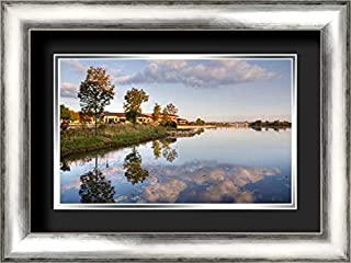 Lakeview Glen 24x17 Silver Contemporary Wood Framed and Double Matted (Black Over Silver) Art Print by Malvin, Larry