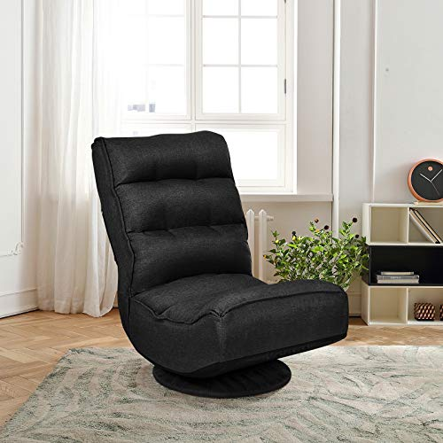 Multigot Folding Floor Chair, 360-Degree Swivel Sofa Chairs with 5 Adjustable Positions and Removable Base Cover, Reclining Lounge Lazy Chair for Gaming Reading Resting (Black)