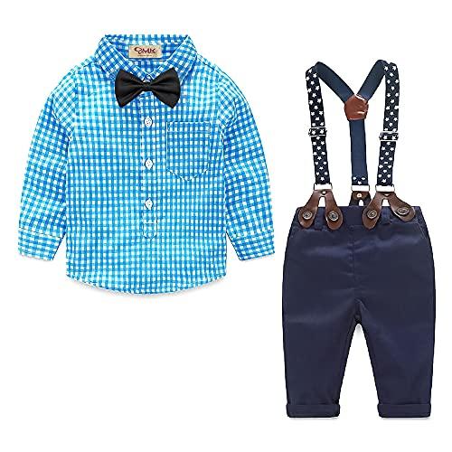 Yilaku Baby Jungen Kleidung Set Baby 0-6 Monate 4tlg Bekleidungssets Langarm Karierte Hemd + Hose mit Hosenträger+ Fliege Anzug Festliche Taufe Hochzeit Baby Kleikind Bekleidung Set(Blau,60)