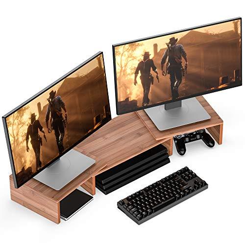 WELL WENG Bambú Elevador del Monitor Ordenador Giratorio Soporte para 2 monitores MR1-TP