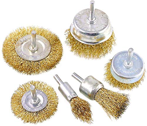Wire Brush Wheel Cup Brush Set 6 Piece for Drill 1/4 Inch, Coarse Carbon Steel Crimped Wire Wheel for Cleaning Rust, Stripping and Abrasive, for Drill Attachment