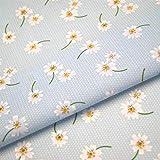 Stoff mit Gänseblümchen und Punkten Blumenmuster