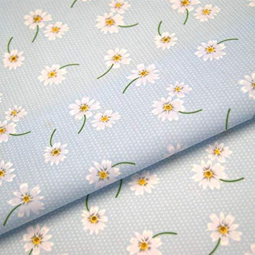 Fabric Penguin Daisy Polka Dots Fabric Floral Dotty Spotty Spots Sky Blue (Metre)