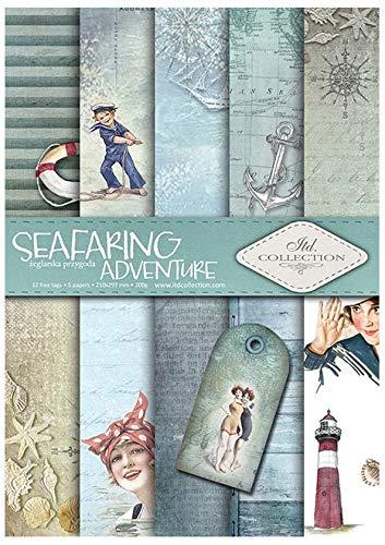 Itd Collection - Scrapbooking Papel, Set de Papel Decorativo Scrapbook A4, 5 Hojas de Papel 210x297 mm (Seafaring Adventure)