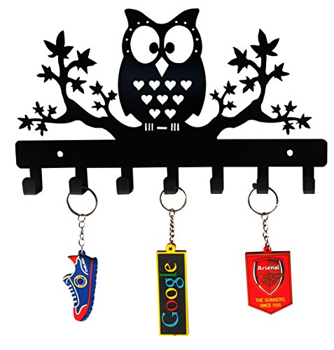 HeavenlyKraft Owl on Maple Trees Steel Key Holder, Steel Key Rack, Metal Key Cabinet, Owl Key Hanger, Medal Hanger, Leash Hanger, 10.6 X 6.15 X 0.8 INCH