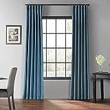 HPD Half Price Drapes PDCH-KBS33BO-108 Blackout Vintage Textured Faux Dupioni Silk Curtain (1 Panel), 50 X 108, Nassau Blue